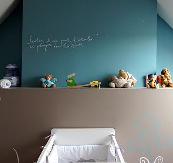 Peinture murale et stickers pour chambre bébé